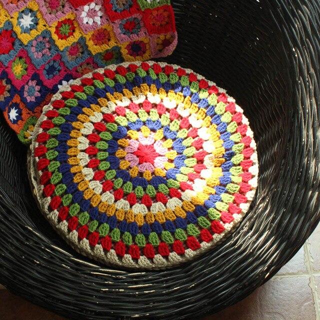 Ganchillo hecho a mano Rústico Colorido Cojín Silla de Comedor Pad ...