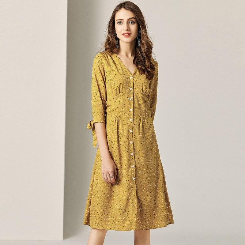 Vestido 2019 Solo Breasted Con Nuevo Mujeres Amarillo V Oficina Camisas En Trabajo Estampado Gasa Cuello Verano YngvUAz