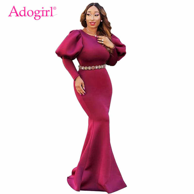 Adogirl Long Puff Sleeve Mermaid Party Dress Elegant Scuba Bodycon Maxi Evening  Gown Solid 3 Colors 9e4530abeb3d