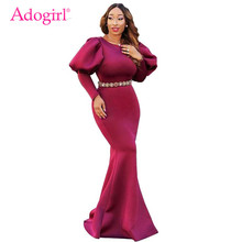 ae4bb5ddeef Adogirl Long Puff Sleeve Mermaid Party Dress Elegant Scuba Bodycon Maxi  Evening Gown Solid 3 Colors