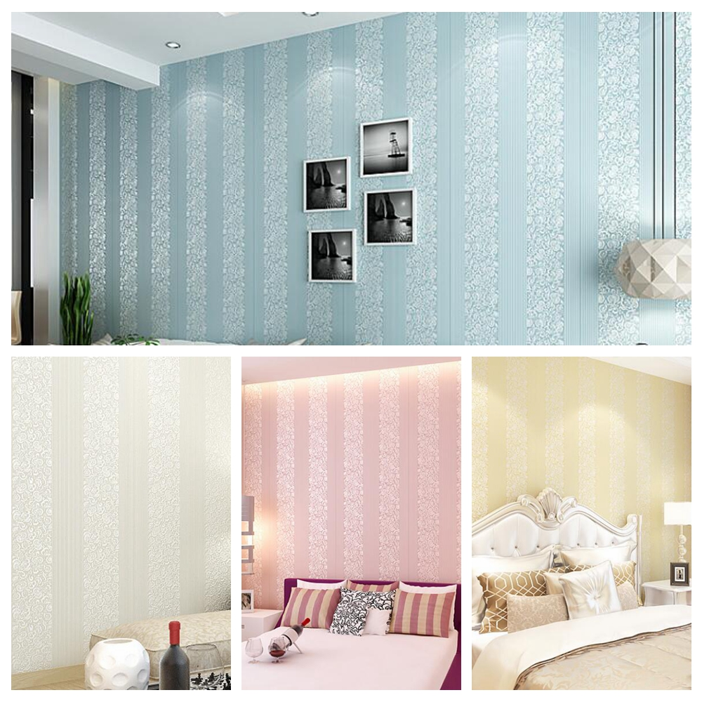 Compare prices on pink stripe wallpaper online shopping for Living room paper