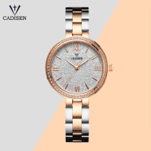 CADISEN Women Watch Ultra-thin Rose Gold Stainless Steel Str
