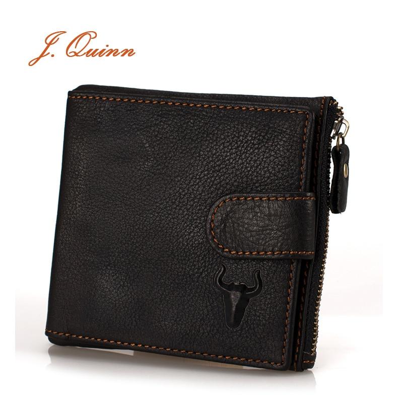 J.Quinn 짧은 지갑 Bifold Wallet Mens 진짜 가죽 브라운 소프트 지퍼 Hasp 빈티지 남성 지갑 동전 주머니 브랜드 디자이너