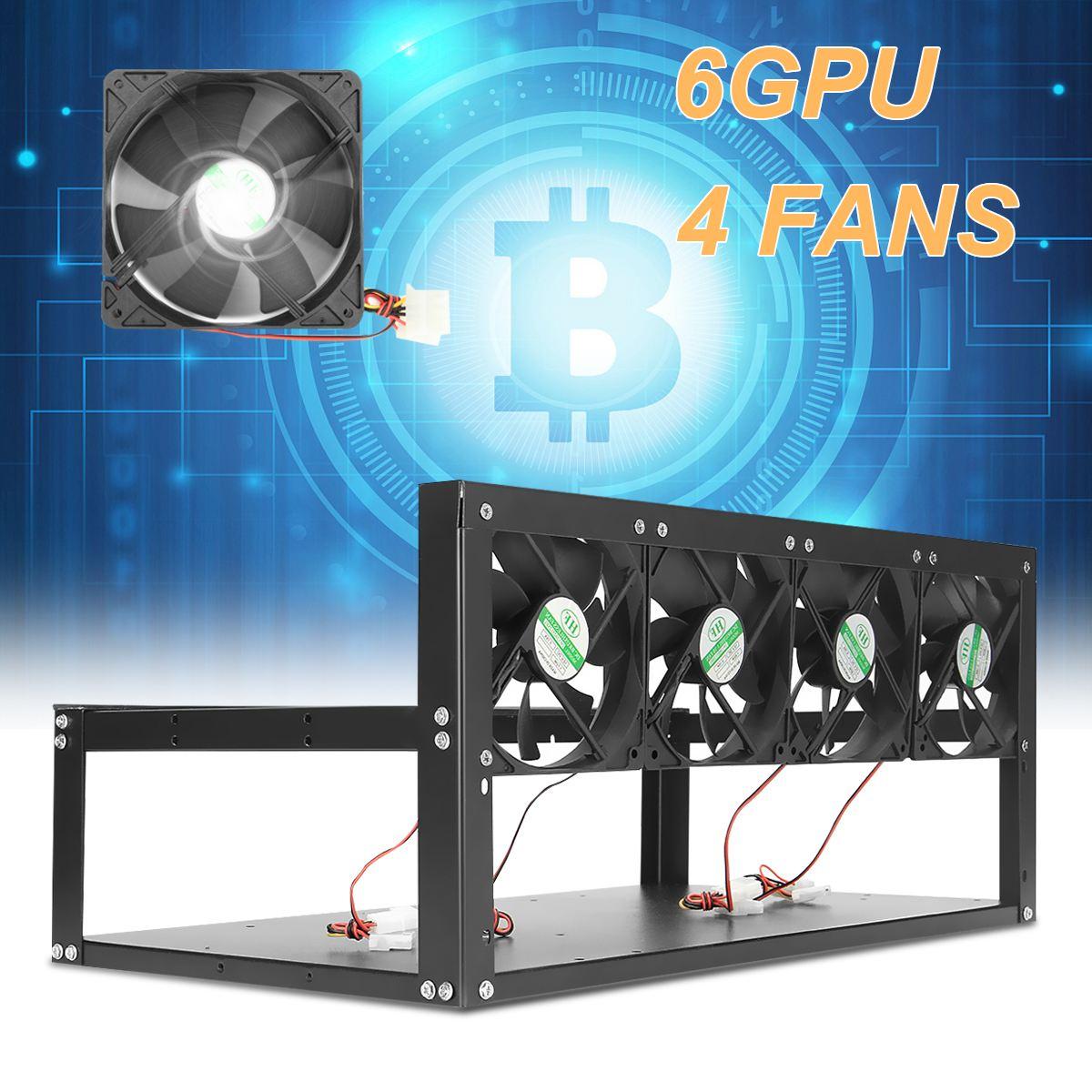 6 GPU Plataforma Minera Marco de Caja De Aluminio + 4 Ventiladores al Aire libre ETH/ZEC/Bitcoin CALIENTE