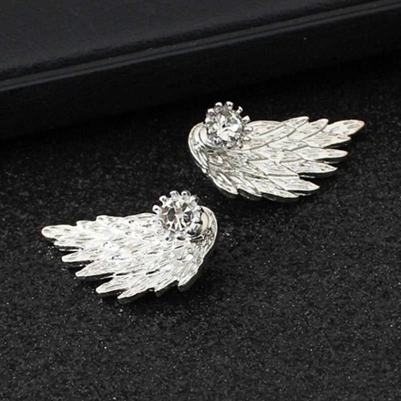 Новинка Brincos модные женские Крылья ангела серьги гвоздики со стразами инкрустированные сплав серьги ювелирные изделия вечерние готические перья