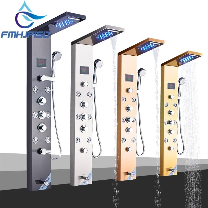 LED Bath Shower Faucet Temperature Digital Display Shower Panel Body Massage System Jets Tower Shower Column