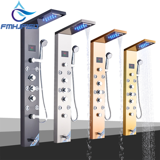 LED Bath Shower Faucet Temperature Digital Display Shower Panel Body Massage System Jets Tower Shower Column Faucet