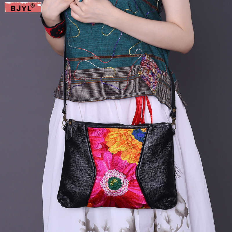 BJYL Original ethnic style hot selling Women Messenger bag Genuine leather shoulder bag handbag embroidery female crossbody BagsBJYL Original ethnic style hot selling Women Messenger bag Genuine leather shoulder bag handbag embroidery female crossbody Bags
