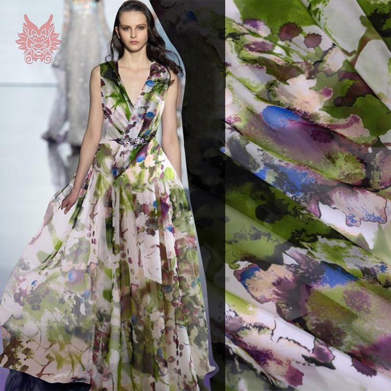 Dreamy Green Fl Print 100 Silk Chiffon Fabric For Summer Dress 6mm Telas De Natural Tissu Sp2749 Free Shipping In From Home