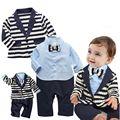 2015 Малышей детские мальчик 2 шт. набор джентльмен галстуки rompers + Куртки vestido bebe костюм День Рождения одежда костюмы 721A