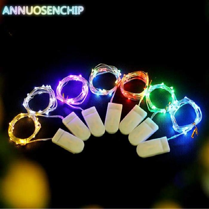 Hit 5-10PCS 1M 2M 3M LED Creative 7 Color Button Battery Box of Copper Lamp Series Mini Small Decorative lights