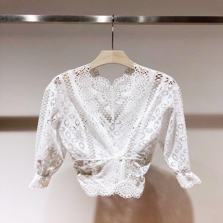 Frace стильные элегантные рубашки с v образным вырезом и дырочками Новинка 2019 летние женские белые кружевные рубашки и блузки A520