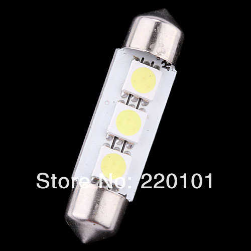Wholesale 5pcs 41mm 5050 3 SMD Car Auto 12V Interior LED Licence Plate Dome Roof map Light Festoon Lamp Bulb white free shipping