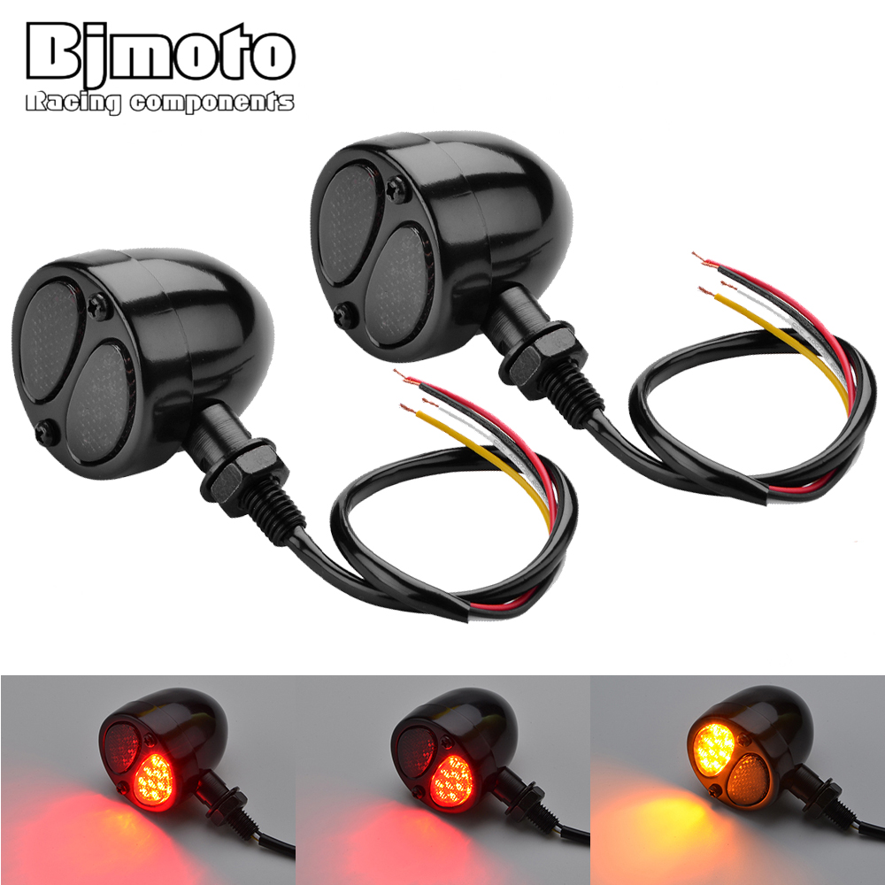 BJMOTO 2 pcs 12V Turn Signal Motorcycle Led Blinker Motorcycle Flasher Indicator Lights Brake Lamp For Harley Honda Yamaha