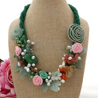 N101904 21 5 Strands Green Flower Crystal Pearl CZ Necklace