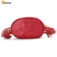 Red Black Small Waist Bag Women Waist Packs Belt Bag Pu Leather Women Messenger Bags Wide