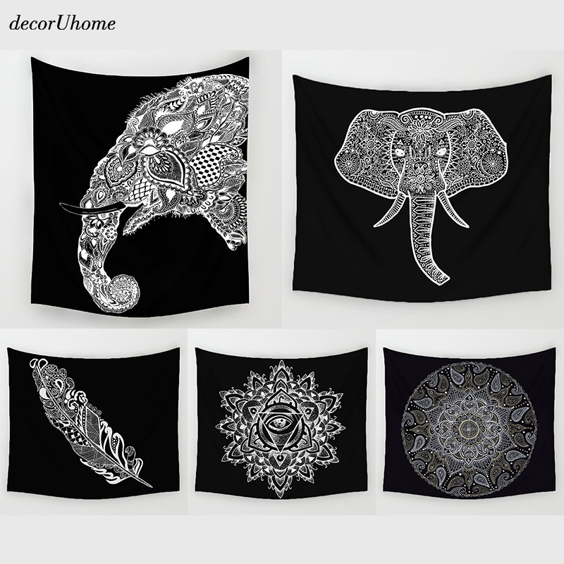 Decoruhome Mandala India Elephant Animals Wall Decorations Beach Towels Home Decor Hanging Living Hippie Printing Wall Tapestry