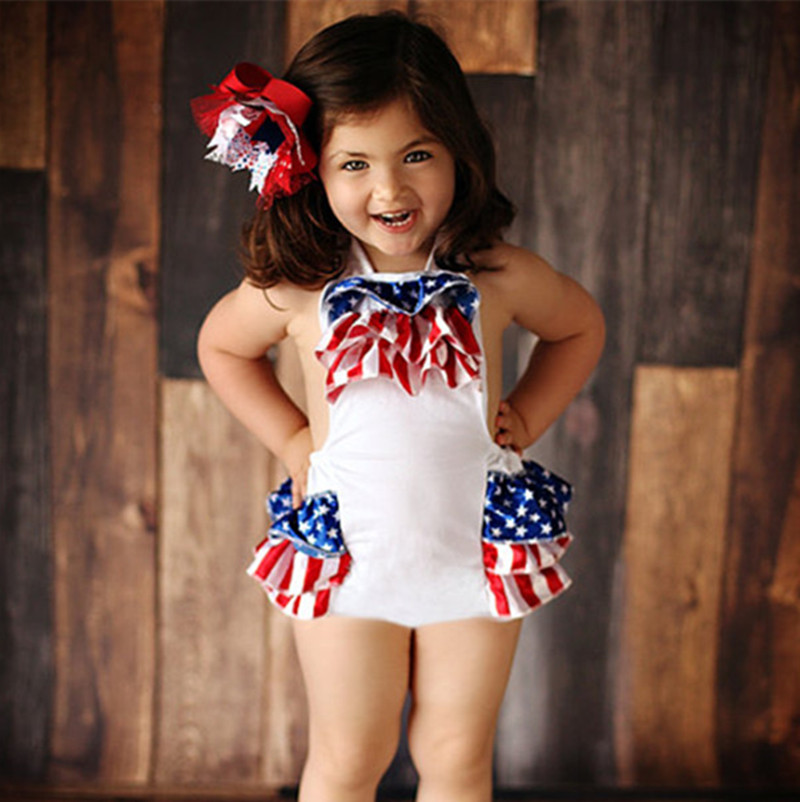 Baby Girl Fourth Of July Bubble Rompers Newborn Baby 1st Patriotic Day Sunny Suit Baby Girl