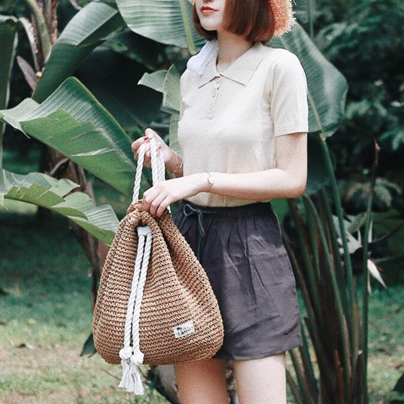 Women Shoulder Bag Fashion Rucksack Weaved For Girls Mochila Backpack Travel Beach Bags Women Straw Backpack Straw Bag