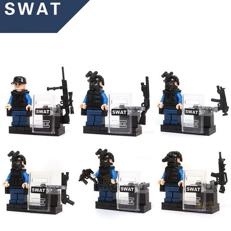 6Pcs Sets KAZI City Police SWAT CS Commando Army Soldiers Patrol Figure Blocks Compatible Legoe Building Toys For Children b1600 sluban city police swat patrol car model building blocks classic enlighten diy figure toys for children compatible legoe