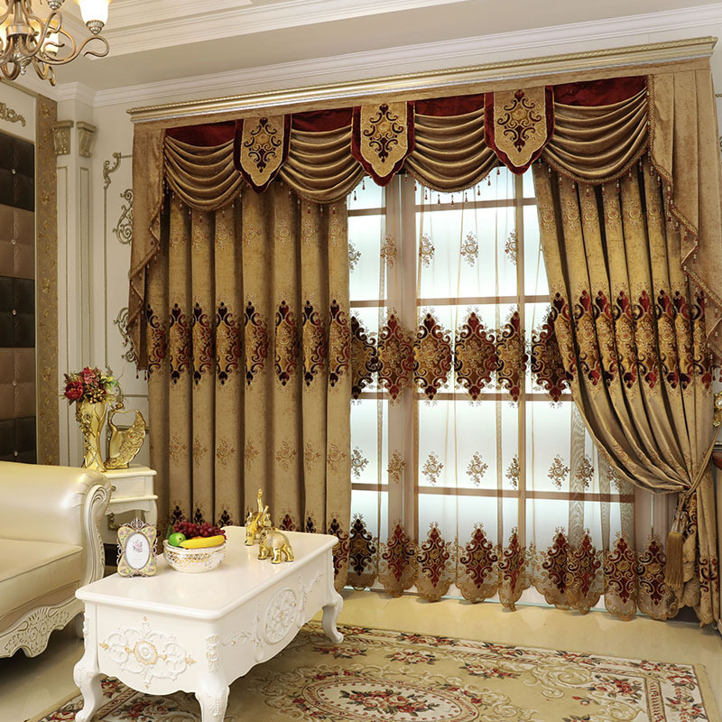 New European Style Curtain Fabric Embroidery Curtains for Living ...