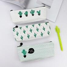 Милый простой большой емкости мультфильм Кактус Многофункциональный милый творческий холст ручка сумка студенческая канцелярская коробка