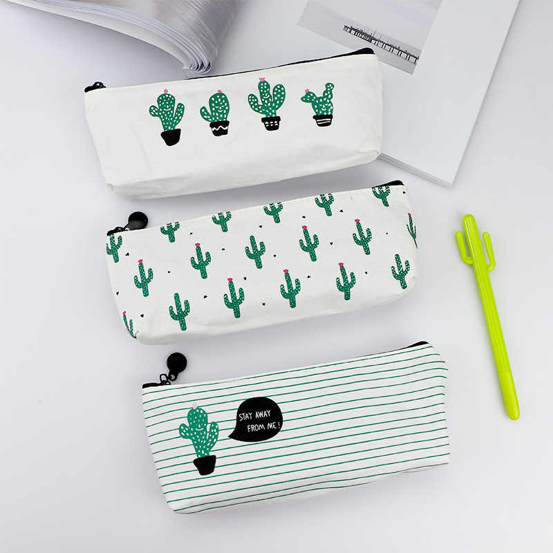 Cute simple large capacity cartoon cactus multi-functional cute creative canvas pen bag student stationery box
