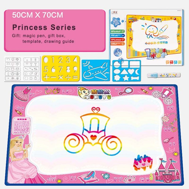 Water Drawing Mat With Magic Water Pen And Stencil Template Aqua Doodle Aquadoodle Learning Education Children Drawing Toys