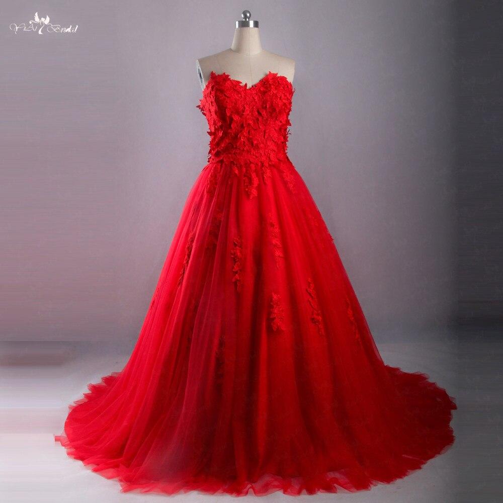 LZ215 date rouge chérie robe de mariée robe de bal élégance princesse Appliques robes de mariée
