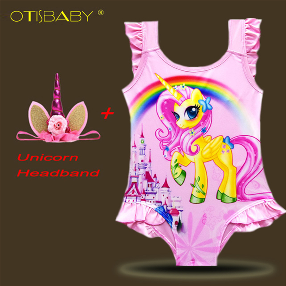 Girls Unicorn Swimsuit One Piece Children Horse Swimwear Kids & Baby Pony Swimsuit Child Bathing Suit Caroon Beach Wear Headband