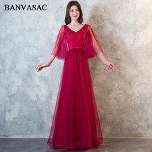 BANVASAC 2018 A Line Crystal V Neck Bow Sash Long Evening Dresses Lace Illusion Sleeve Backless Party Prom Gowns