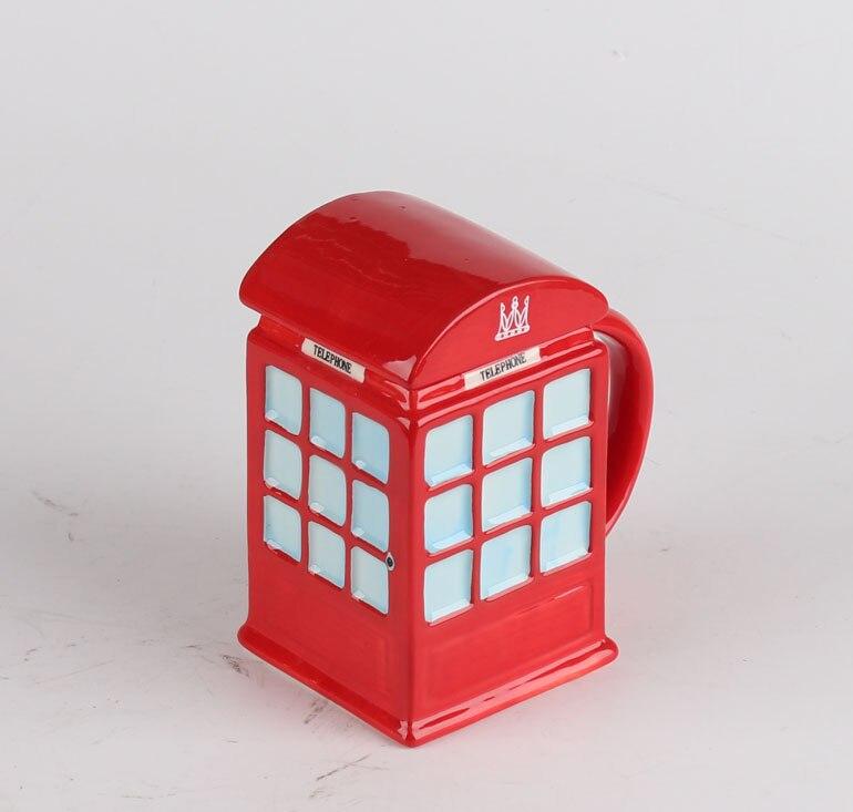 Creatieve Retro Rode Uk Telefoon Mok Keramische Porselein Mok Cup Meisje Jongen Verjaardagscadeau Woondecoratie Aantrekkelijke Mode