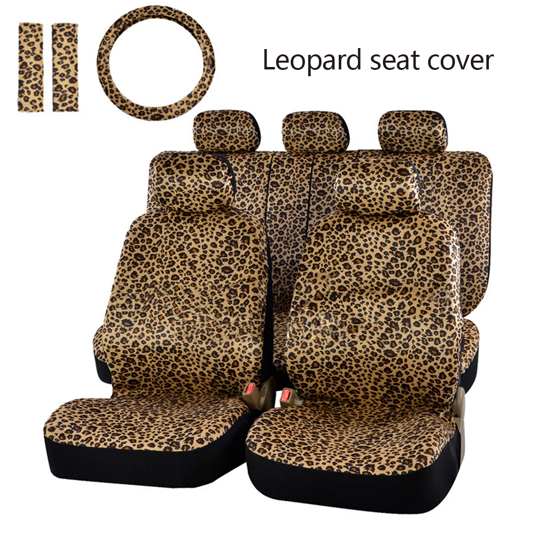 Dewtreetali Leopard Print Car Seat Cover Universal Fit Seat Belt Pads Universal Steering Wheel Car Seat Protector Car Styling dewtreetali universal automoblies seat cover four seaons car seat protector full set car accessories car styling for vw bmw audi