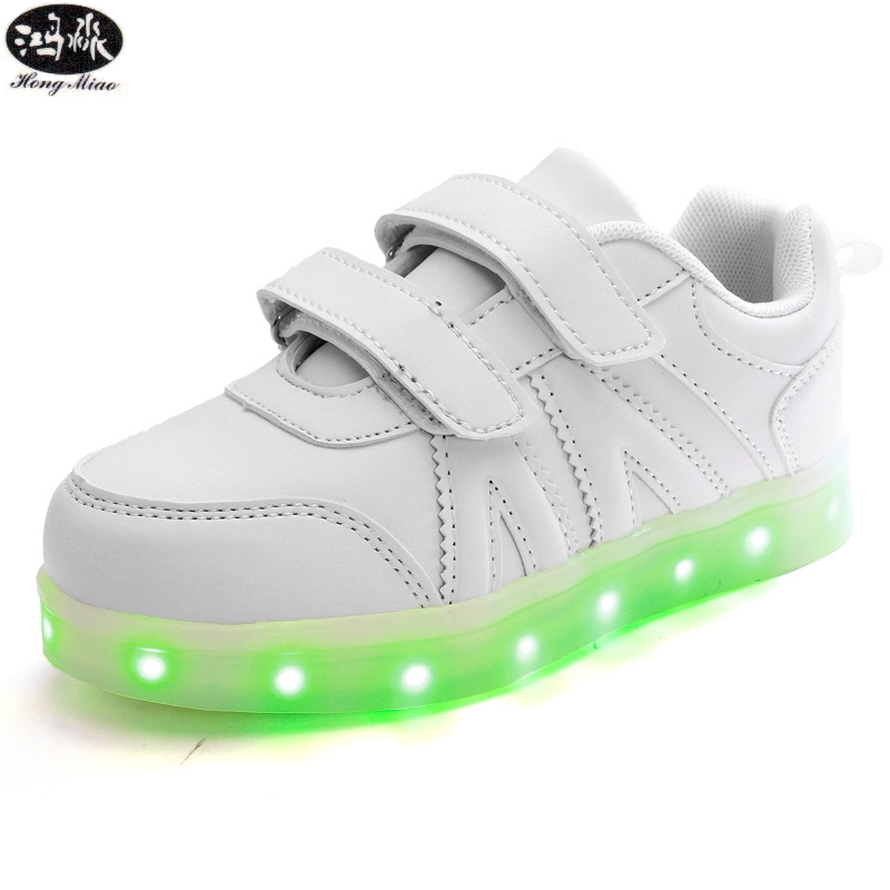 Kids Shoes Led Glowing Sneakers Children 7 Colors Light Up Luminous Sole Girls Boys Casual Shoes Kids USB Charging Sneakers 25 40 size usb charging basket led children shoes with light up kids casual boys