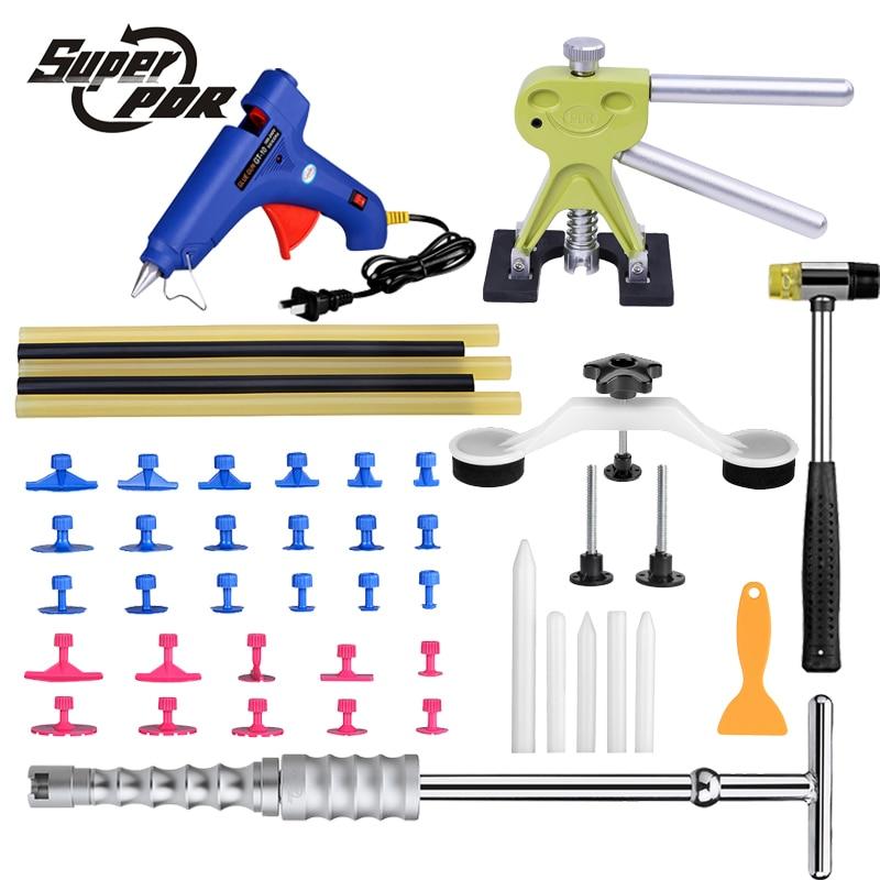 Super PDR Car Body Dent Removal 44 Pcs Hand Tool Kit Slide Hammer Dent Puller Pulling Bridge Glue Gun Rubber Hammer