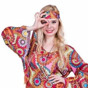 Image 4 - 2017 Flower Printed Long Sleeve Boho Dresses Hippie Dress With Headband Adult Halloween Cosplay Plus Size Halloween Costumes