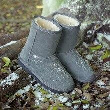 Australia Botas de nieve de Las Mujeres Impermeables Slip On Brand 2017 Nuevo Suede Zapatos Planos de Piel de Color Sólido caliente Del Invierno Sapatos Femininos caliente