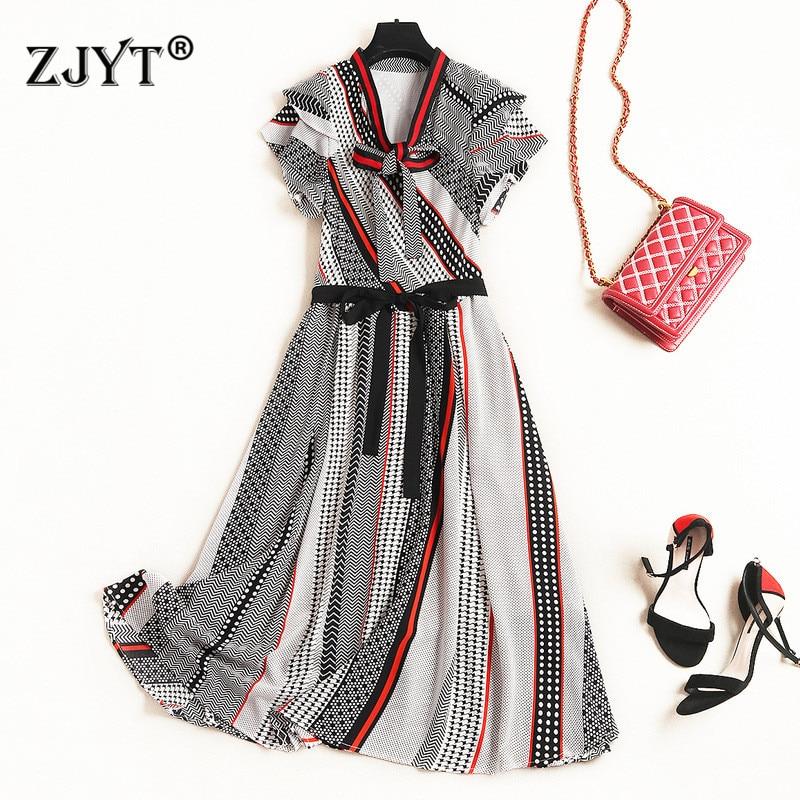 2019 été Style Designer piste robe de haute qualité femmes mode arc col à manches courtes géométrique imprimer tenue décontractée Vestidos