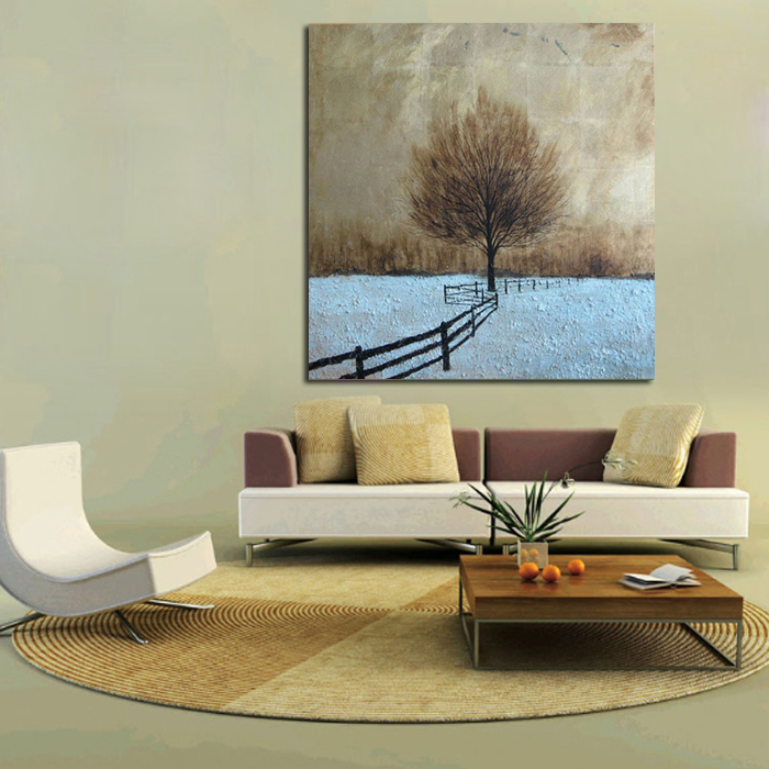 Large Handpainted graceful Street Tree Landscape Oil Painting On Canvas Wall Art Wall Picture For Living Room office Home Decor
