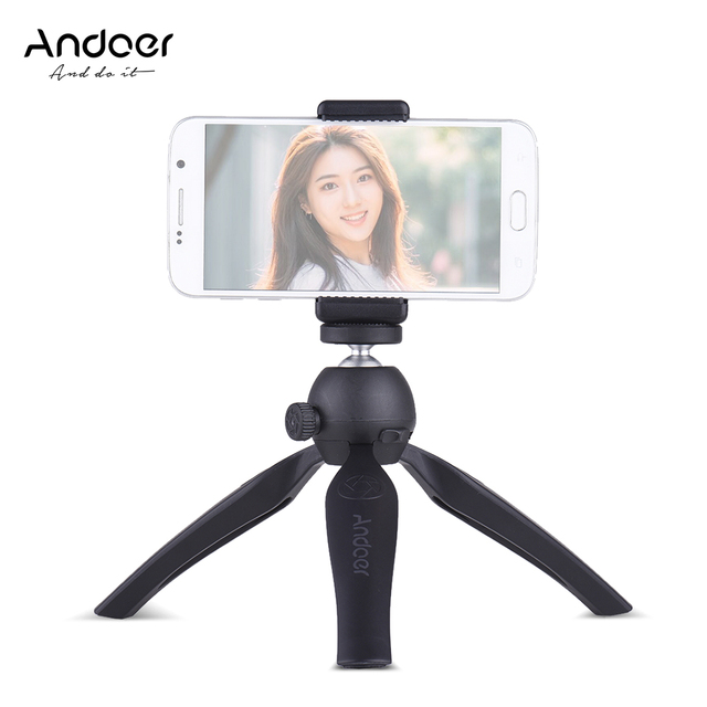 "Andoer K7 2-Level Working Heights  Mini Tabletop Tripod Selfie Stick for Smartphone 1/4"" Screw Mount w/ Adjustable Phone Holder"