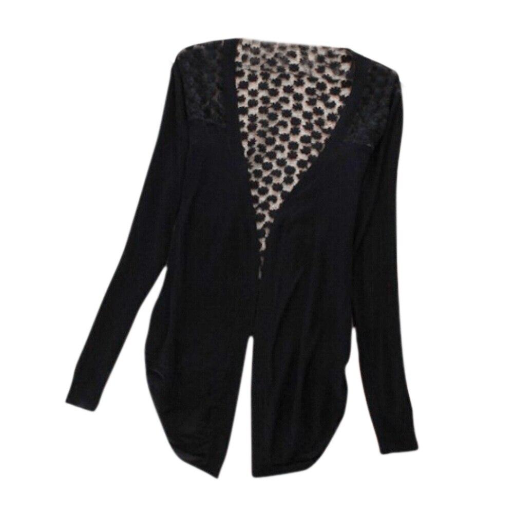 Women Lace Crochet Knit Sweater Cardigan Long Sleeve 6 Colors