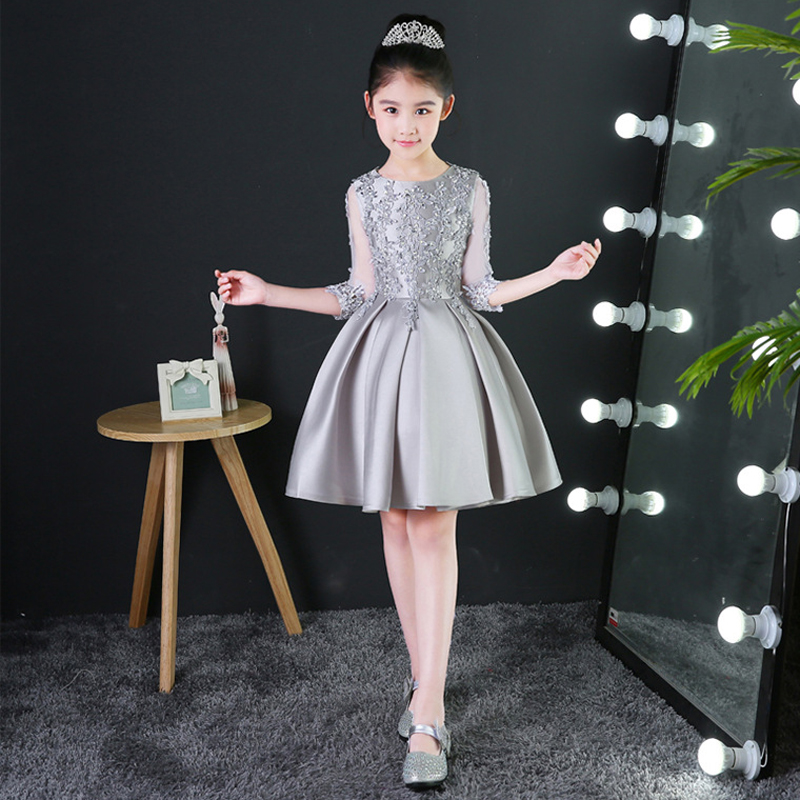 U-SWEAR 2019 New Arrival Kid   Flower     Girl     Dresses   O-neck Half Sleeve Lace   Flower   Appliqued Pageant   Dresses   For   Girls