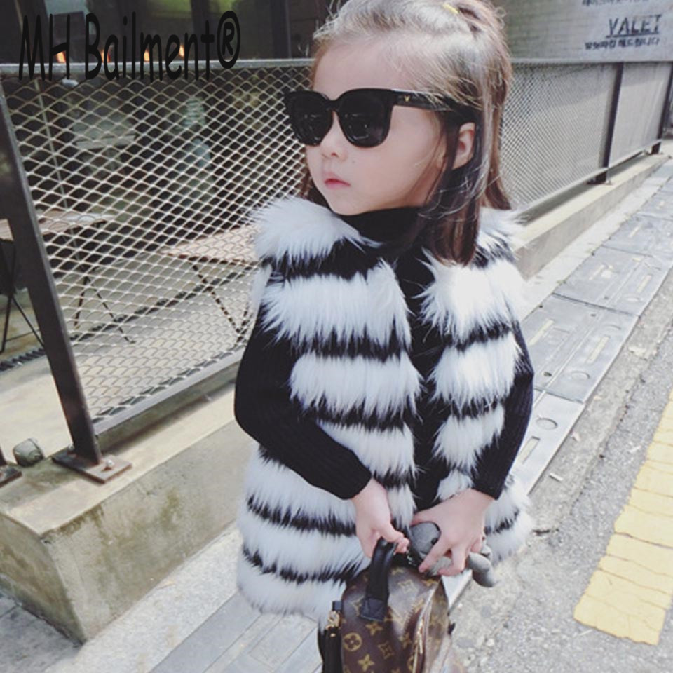 2017  Children Vest Winter Warm Real Rabbit Raccon Fur Vests Babys Thick Princess Girls Vest Kids Jackets Girls Warm WaistcotV#5