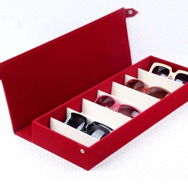 8e84969b18a4d 8-Grid Casa Camurça Tecido óculos de Sol Caixas de Armazenamento de Jóias  Caixa De
