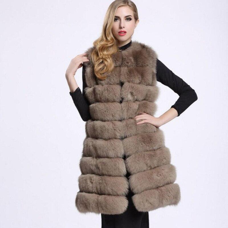 En gros 2018 fausse fourrure usine renard fausse fourrure gilet femmes hiver mode fourrure artificielle manteau Super Long gilet femme fausse fourrure