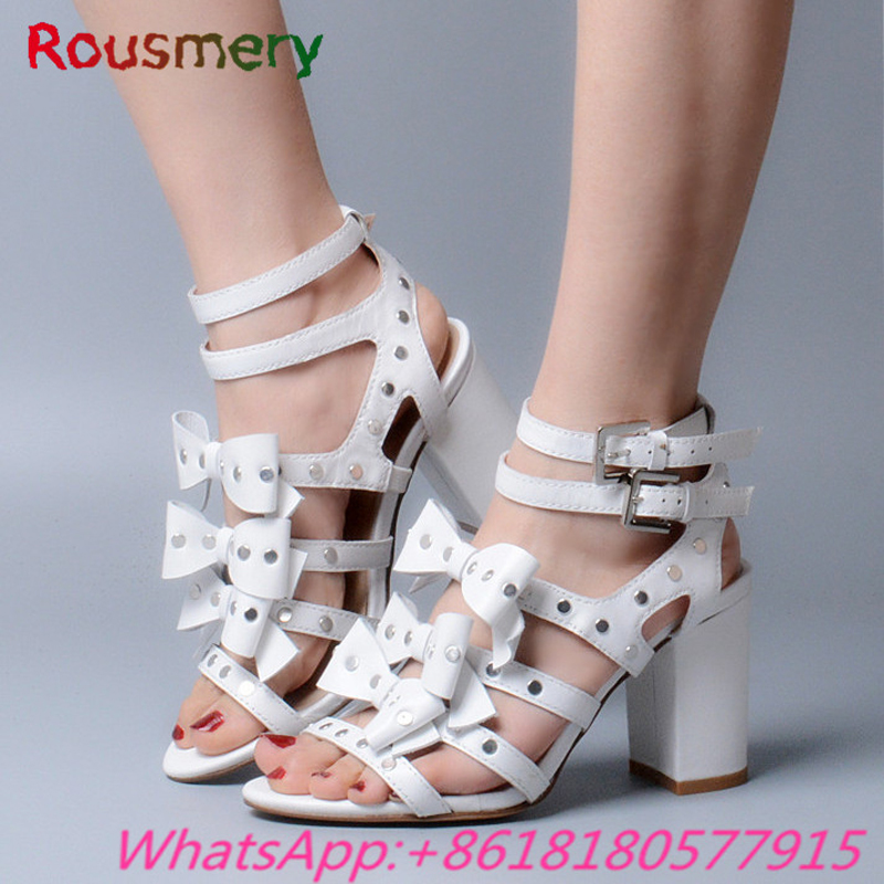 Sweet Chunky High Heels Woman Sandals Summer Plus Size Fashion Gladiator Party Butterfly-knot Zapatos Mujer Buckle Strap Shoes