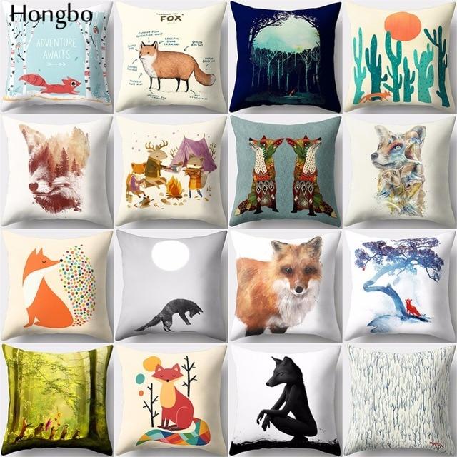 Hongbo housse de coussin carrée avec motif de dessin animé de renard, pour canapé, décoration de la maison, 1 pièce
