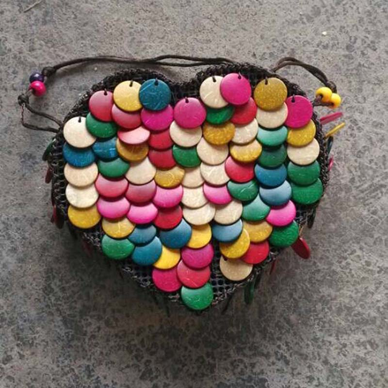 Heart Shape Bag Colorful Coconut Shell Casual Bag Handmade Bag Ethnic Wind Packet Beaded Mobile Phone Mini Bag