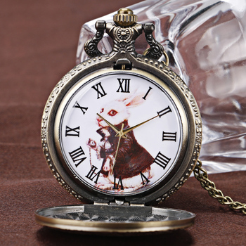 Vintage Watch Alice in Wonderland Cute Rabbit Copper Quartz Pocket Watches Men Women Beautiful Pendant Necklace Daughter Gift alice in wonderland necklace fashion bronze chain women rabbit drink me tag quartz pocket watch retro vintage cute gift