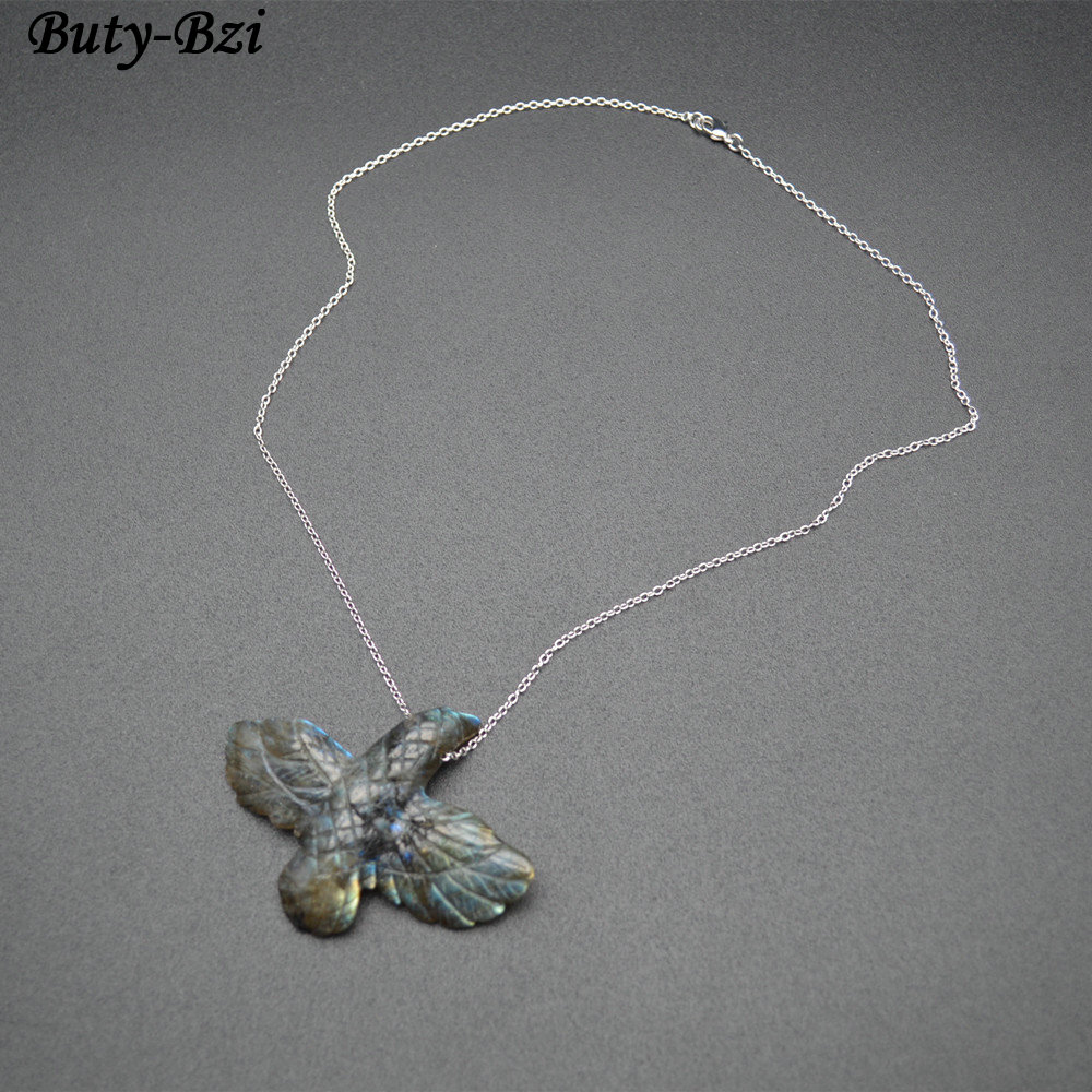 Pendentif en forme de faucon en pierre brillante aigle sculpté à la main chaînes liées collier bijoux pour hommes Cool